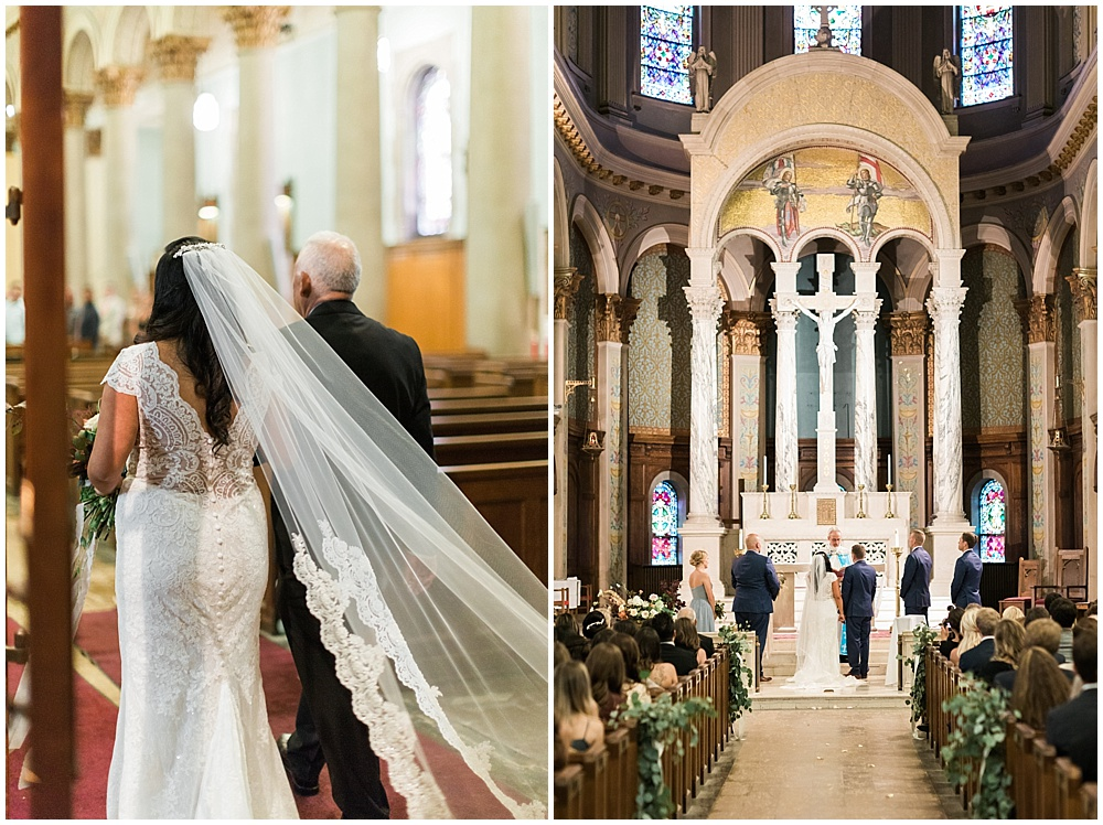 cathedral veil; lace wedding gown; St. Joan of Arc Church; Mexican inspired gold & floral wedding; Crowne Plaza Indianapolis Downtown Union Station; neutral floral and greenery wedding|Cory + Jackie and Jessica Dum Wedding Coordination