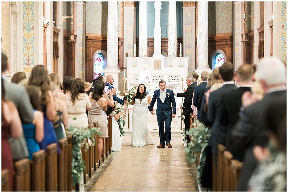 St. Joan of Arc Church; Mexican inspired gold & floral wedding; Crowne Plaza Indianapolis Downtown Union Station; neutral floral and greenery wedding|Cory + Jackie and Jessica Dum Wedding Coordination
