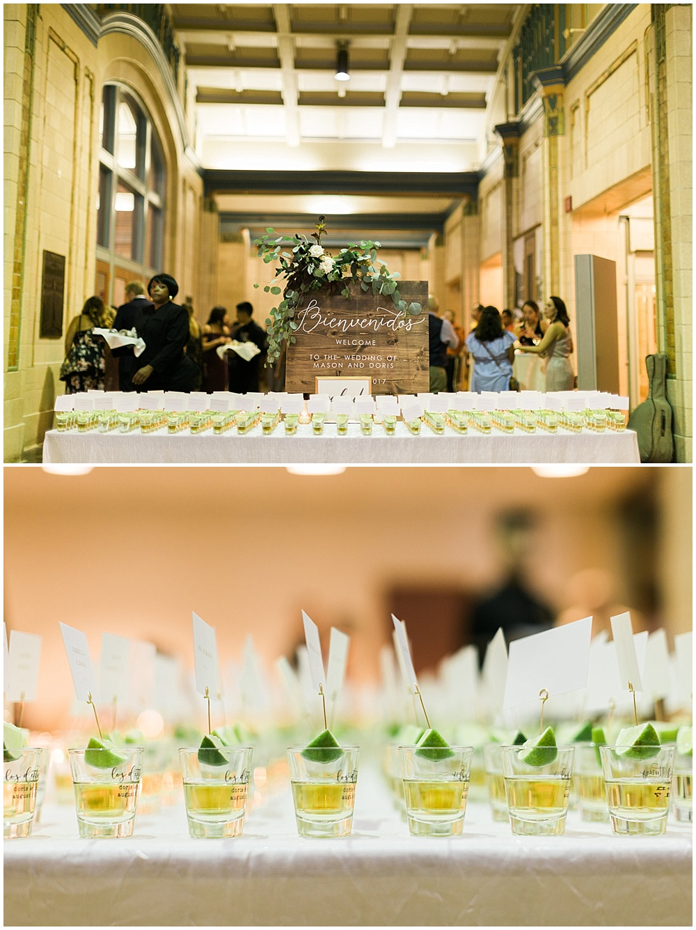 tequila shots; seating chart; Mexican inspired gold & floral wedding; Crowne Plaza Indianapolis Downtown Union Station; neutral floral and greenery wedding|Cory + Jackie and Jessica Dum Wedding Coordination