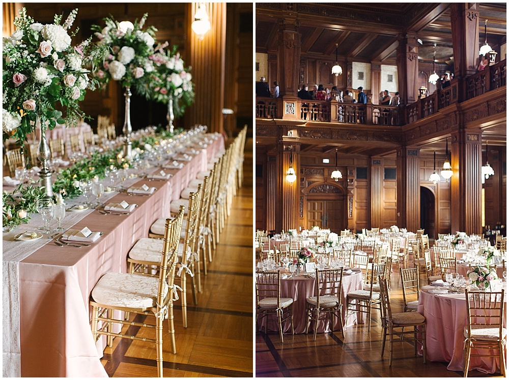 bridal party head table; blush and gold kings table; blush linens; tall centerpieces; Navy + blush wedding; Scottish Rite Cathedral| Traci & Troy Photography and Jessica Dum Wedding Coordination