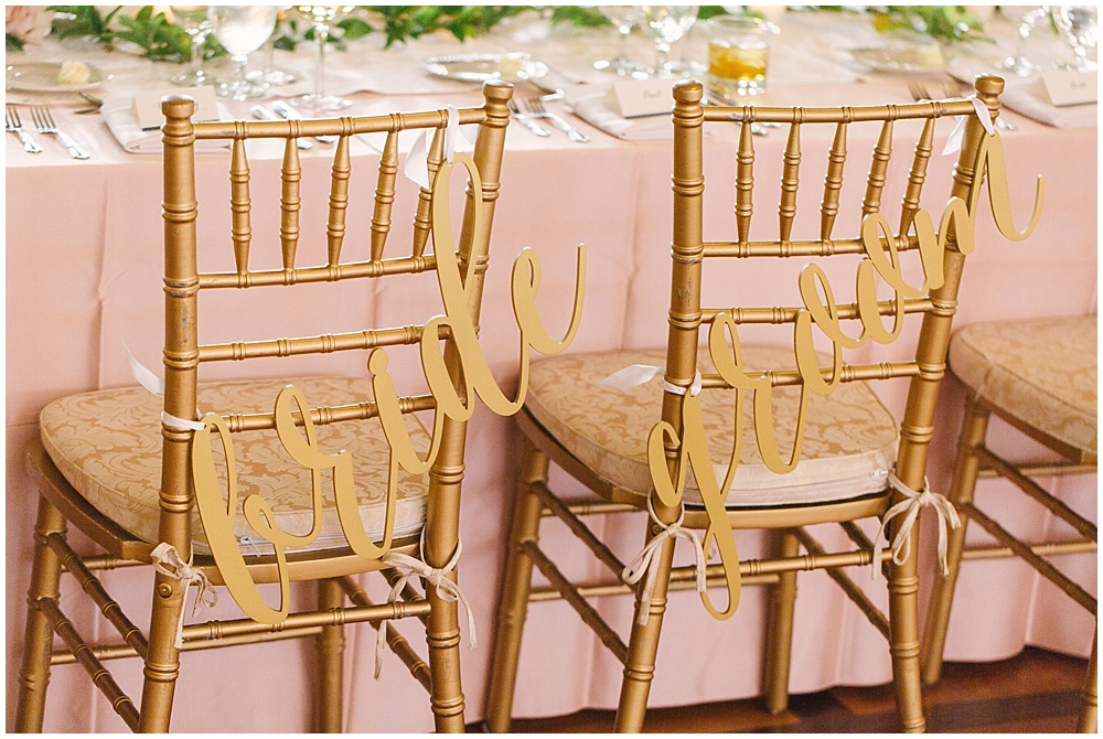bride and groom chair signs; gold laser cut chair signs; gold chiavari chairs; blush linens; Navy + blush wedding; Scottish Rite Cathedral| Traci & Troy Photography and Jessica Dum Wedding Coordination