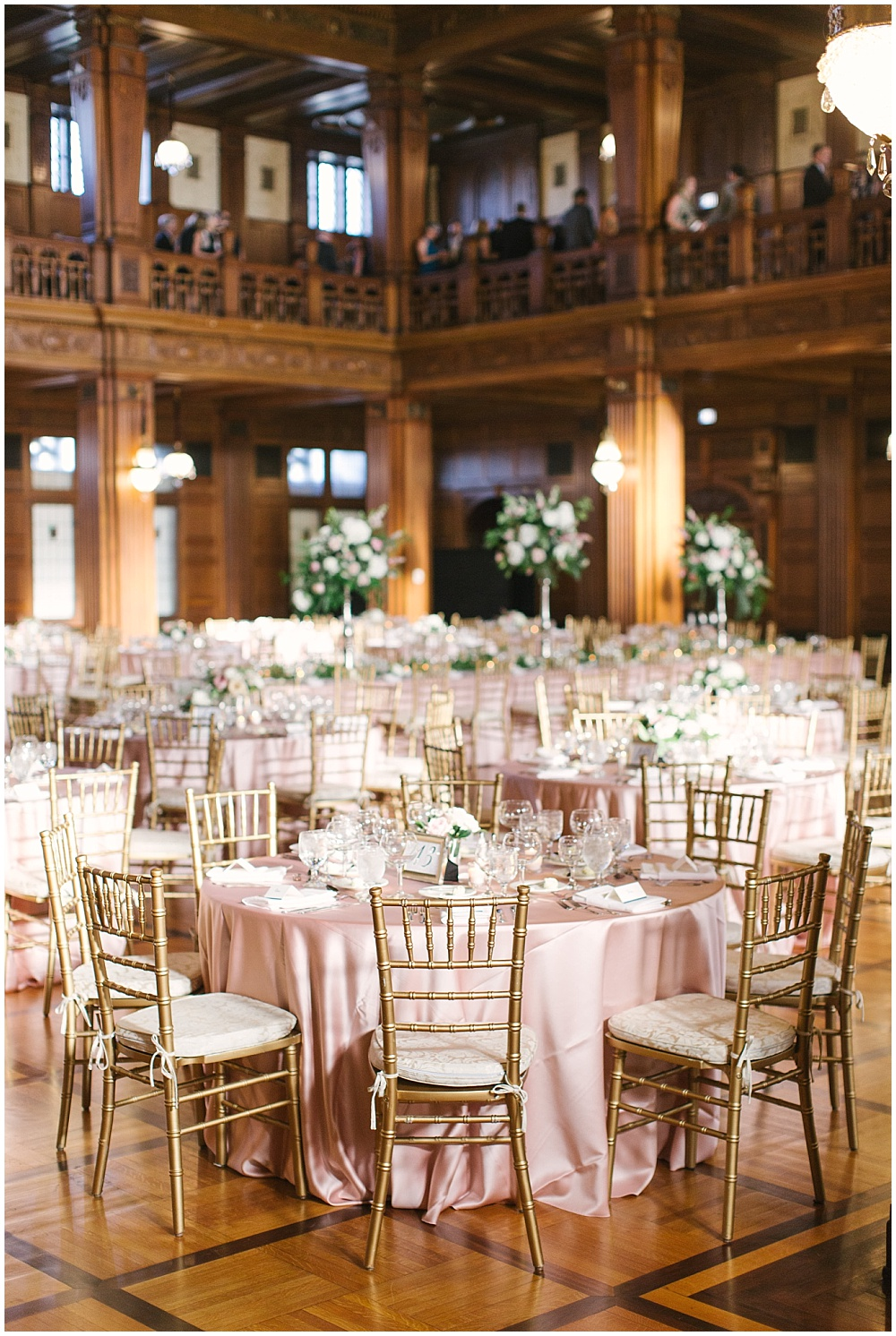 blush tablescape; wedding tablescape; gold chiavari chairs; Navy + blush wedding; Scottish Rite Cathedral Indianapolis | Traci & Troy Photography and Jessica Dum Wedding Coordination