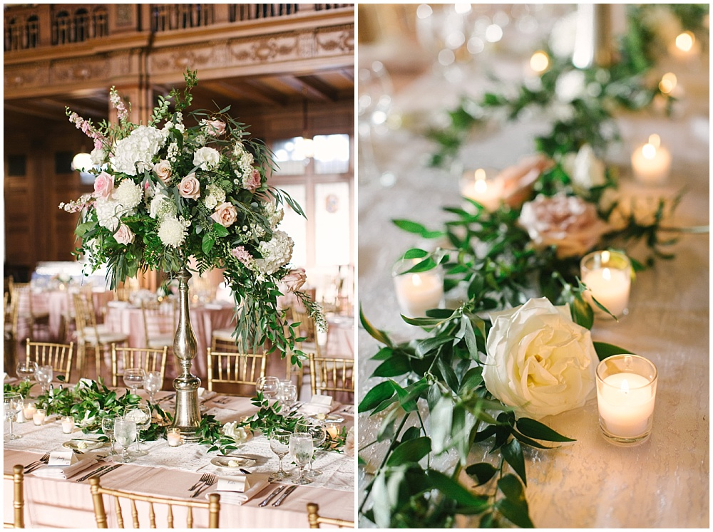 blush tablescape with greenery; tall floral centerpieces; draped greenery; Navy + blush wedding; Scottish Rite Cathedral Indianapolis | Traci & Troy Photography and Jessica Dum Wedding Coordination