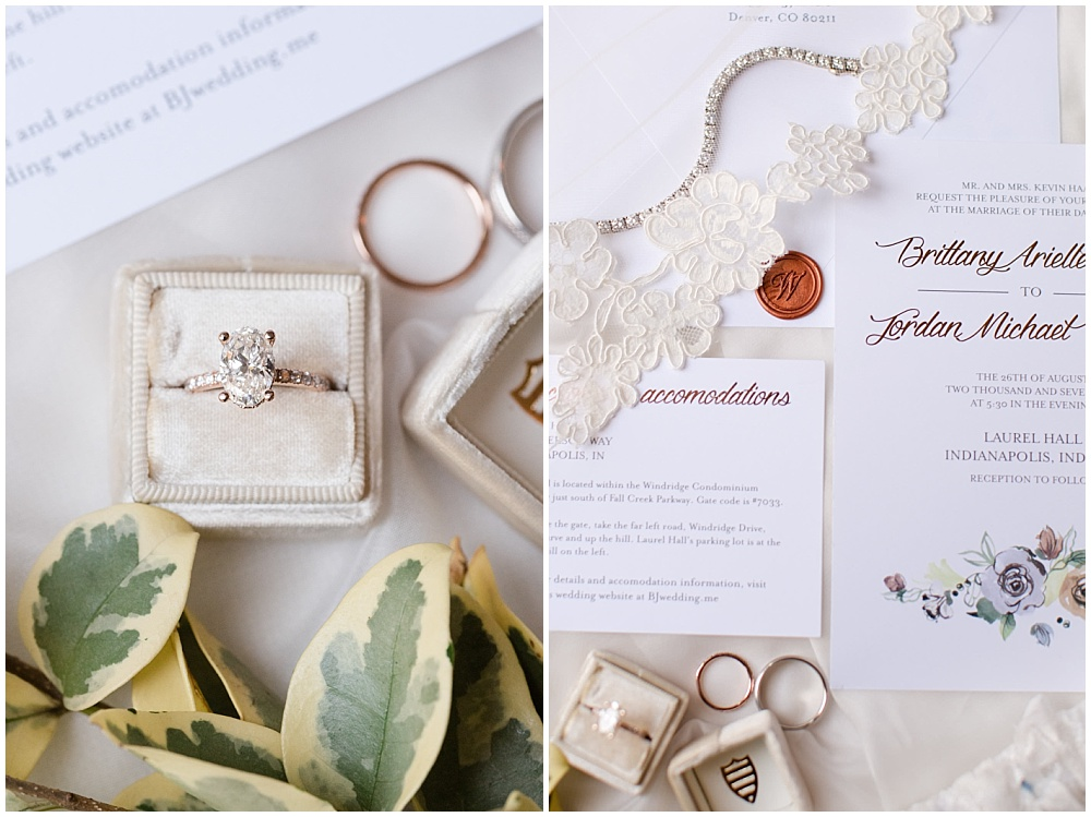 wedding ring; engagement ring; the mrs box; ring details; invitation suite; invitation details; white invitation suite; floral invitation; watercolor invitation; custom wax seal; white wedding | Outdoor Terrace Wedding, Laurel Hall - Danielle Harris Photography; Jessica Dum Wedding Coordination