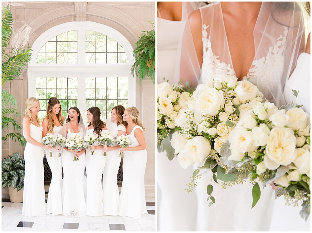 white lace wedding dress; white wedding; white bridal bouquet; white bridesmaid dresses | Outdoor Terrace Wedding, Laurel Hall - Danielle Harris Photography; Jessica Dum Wedding Coordination