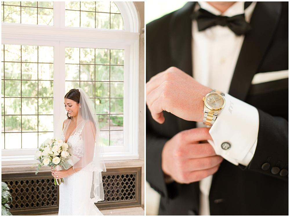 bridal portraits; white lace wedding dress; white wedding; white bridal bouquet   Outdoor Terrace Wedding, Laurel Hall - Danielle Harris Photography; Jessica Dum Wedding Coordination