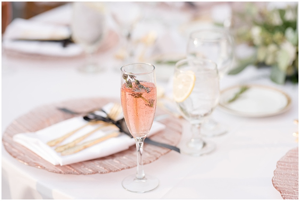 rose toast with lavender sprig; rose gold chargers; gold flatware; mixed metallics; wedding tablescape; white wedding | Outdoor Terrace Wedding, Laurel Hall - Danielle Harris Photography; Jessica Dum Wedding Coordination