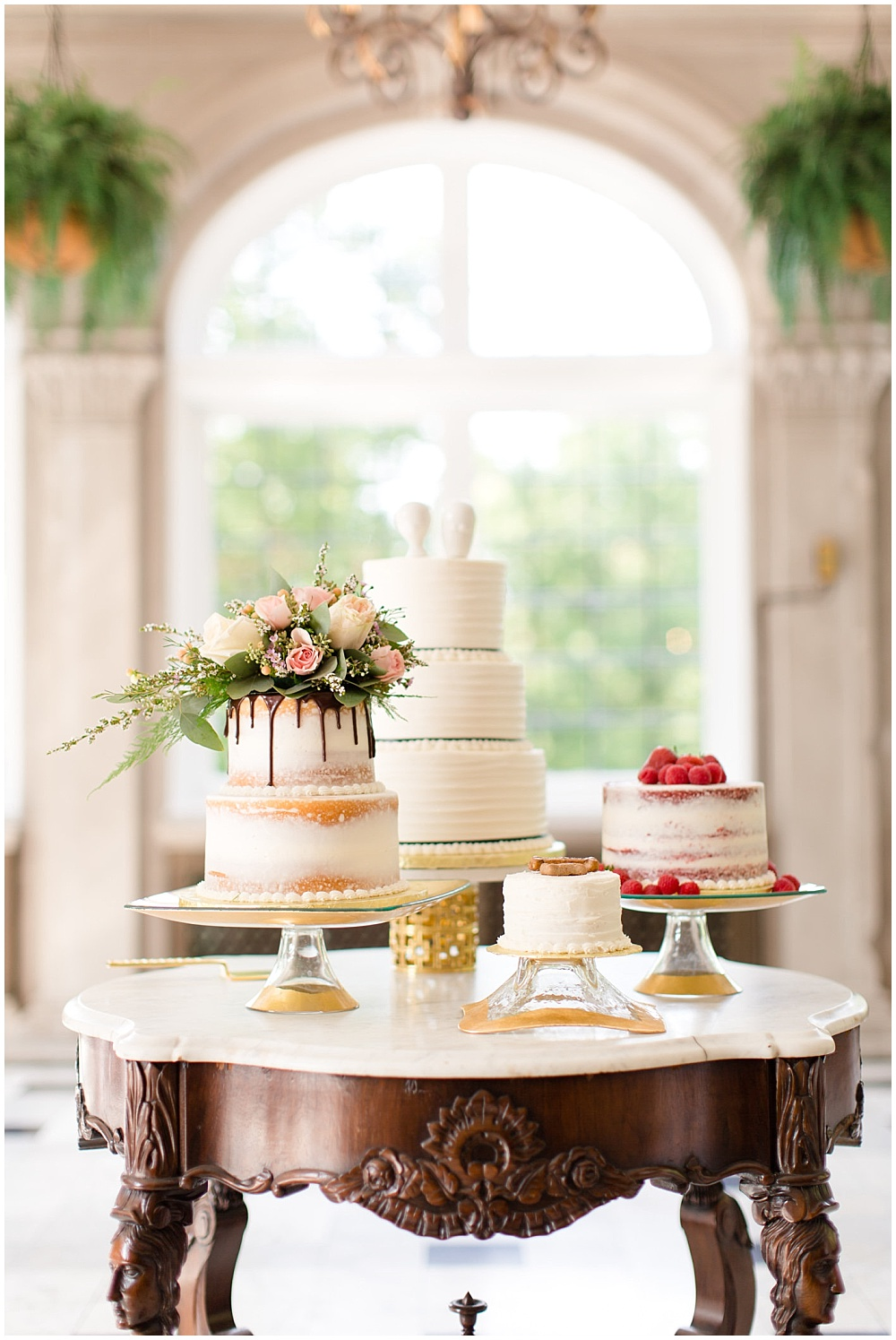 multiple wedding cakes; gold cakes stands; jonathon adler cake stand; naked cakes; puppy cake | Outdoor Terrace Wedding, Laurel Hall - Danielle Harris Photography; Jessica Dum Wedding Coordination
