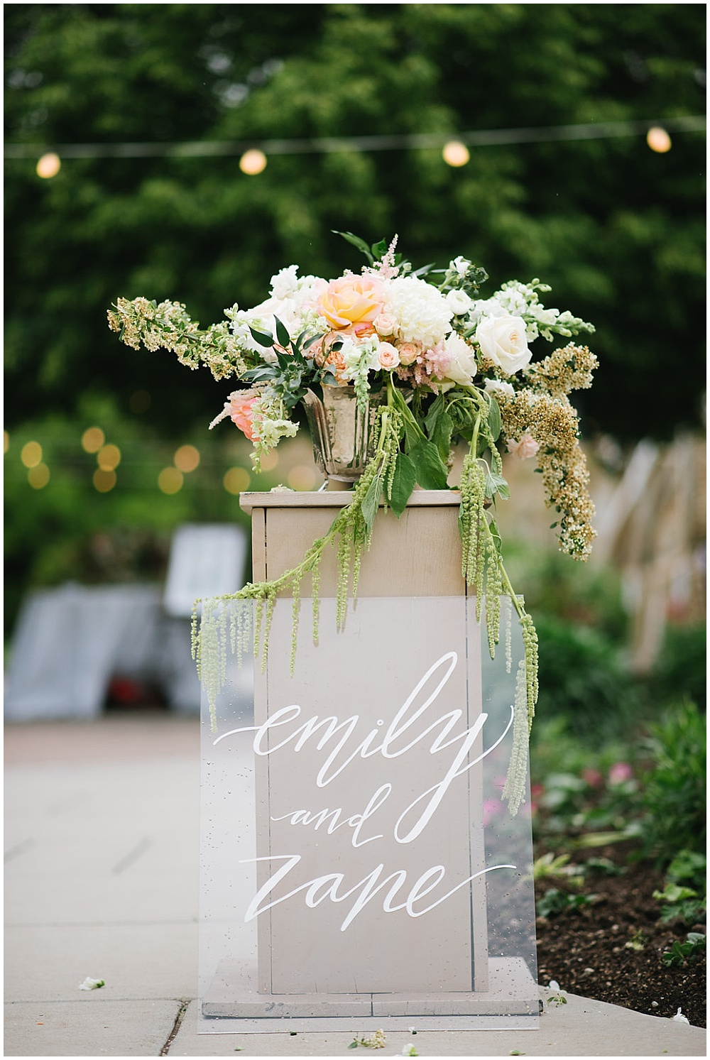 6 ways to elevate your wedding details; acrylic welcome sign; acrylic sign; hand lettered wedding sign; blush and white ceremony florals