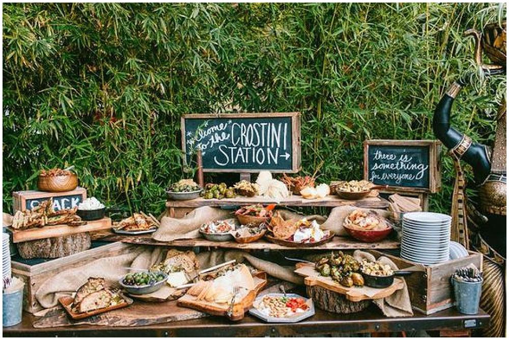 7 Waysto Make Your Wedding Interactive | interactive wedding; wedding ideas; food stations; crostini station; station ideas; food station ideas; tapas-style wedding; tapas-style food station