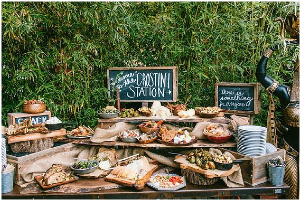 7 Waysto Make Your Wedding Interactive | interactive wedding; wedding ideas; food stations; crostini station; station ideas; food station ideas; tapas-style wedding; tapas-style food station