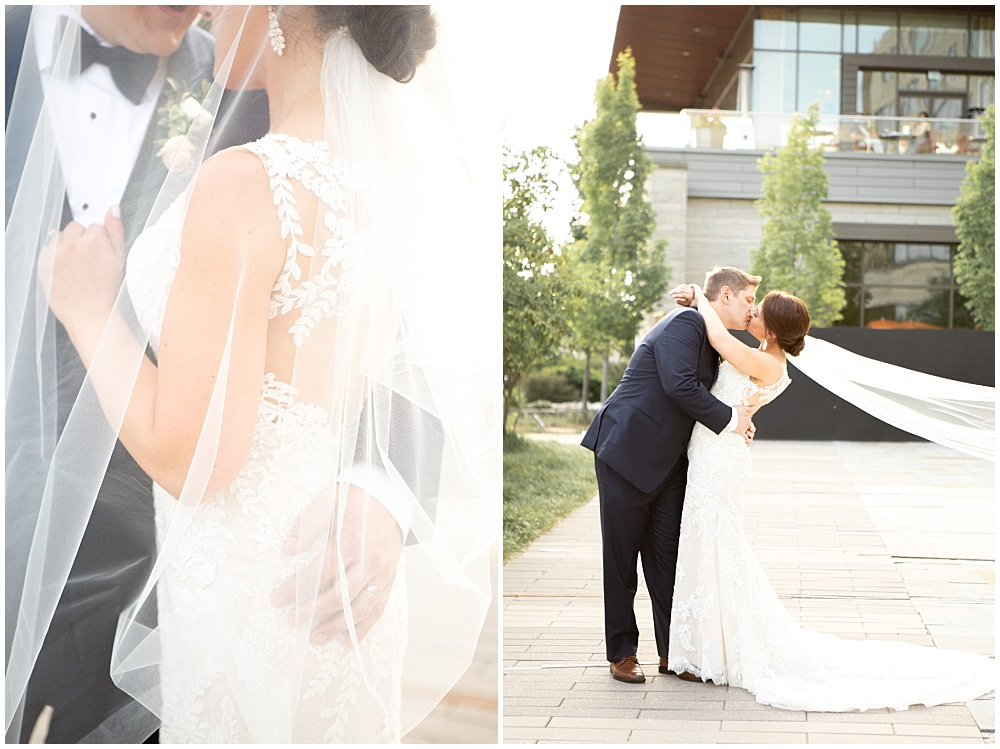 bride and groom portraits, lace wedding dress, lace gown, cathedral veil, Colorful, modern wedding at The Alexander Hotel | Conforti Photography and Jessica Dum Wedding Coordination