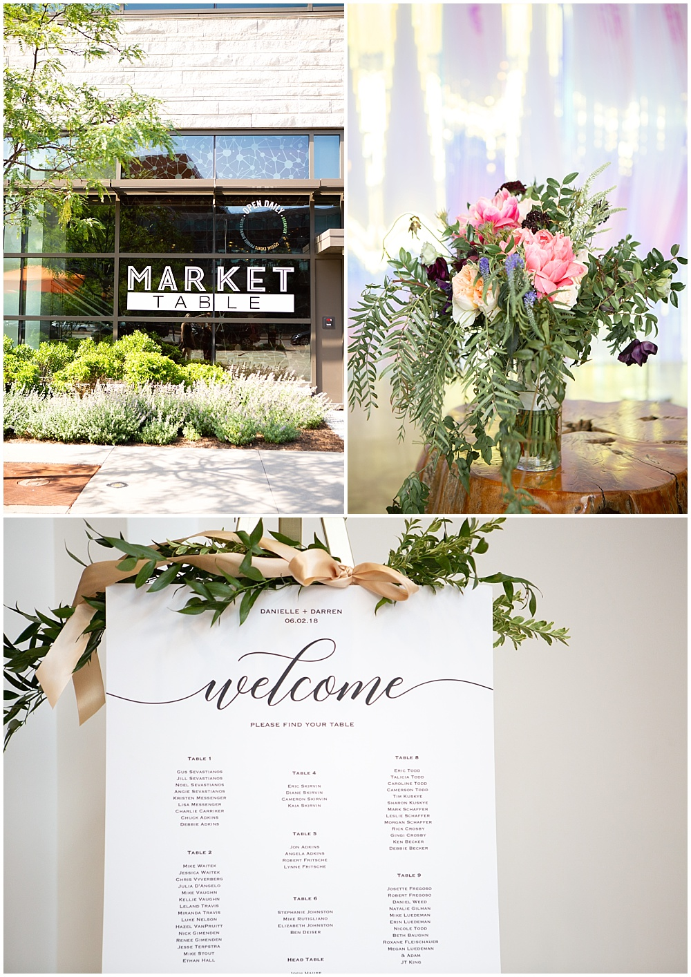welcome sign, bright wedding flowers, bold flowers, draped greenery, Colorful, modern wedding at The Alexander Hotel | Conforti Photography and Jessica Dum Wedding Coordination