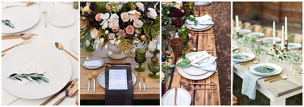 Wedding reception decor ideas that make a big impact | reception flatware, wedding flatware, colored flatware, reception tablescape, modern flatware, gold flatware, bronze flatware