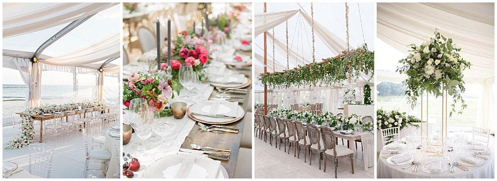 Wedding reception decor ideas that make a big impact | wedding centerpieces, wedding tablescape, low floral design, suspended florals, draped greenery, draped flower centerpieces, modern centerpieces