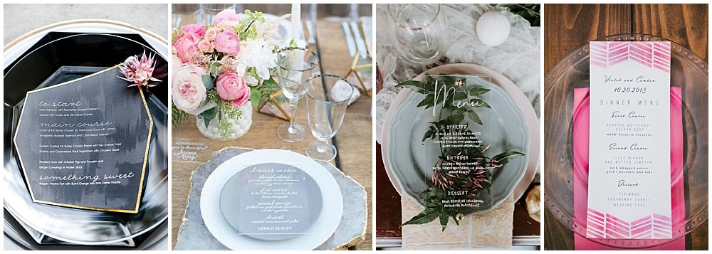 Wedding reception decor ideas that make a big impact | wedding menu, geometric menu card, acrylic menu card, circle menu card, menu ideas, menu card details