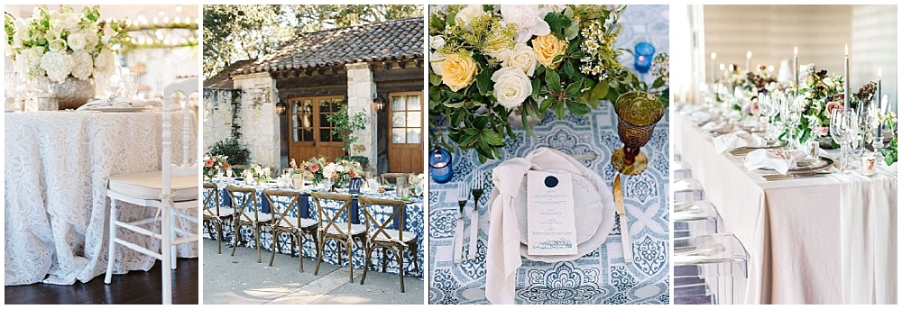 Wedding reception decor ideas that make a big impact | table linens, statement linens, lace linens, la tavola linens, pop of color linens, textured linens, patterned linens, velvet linens