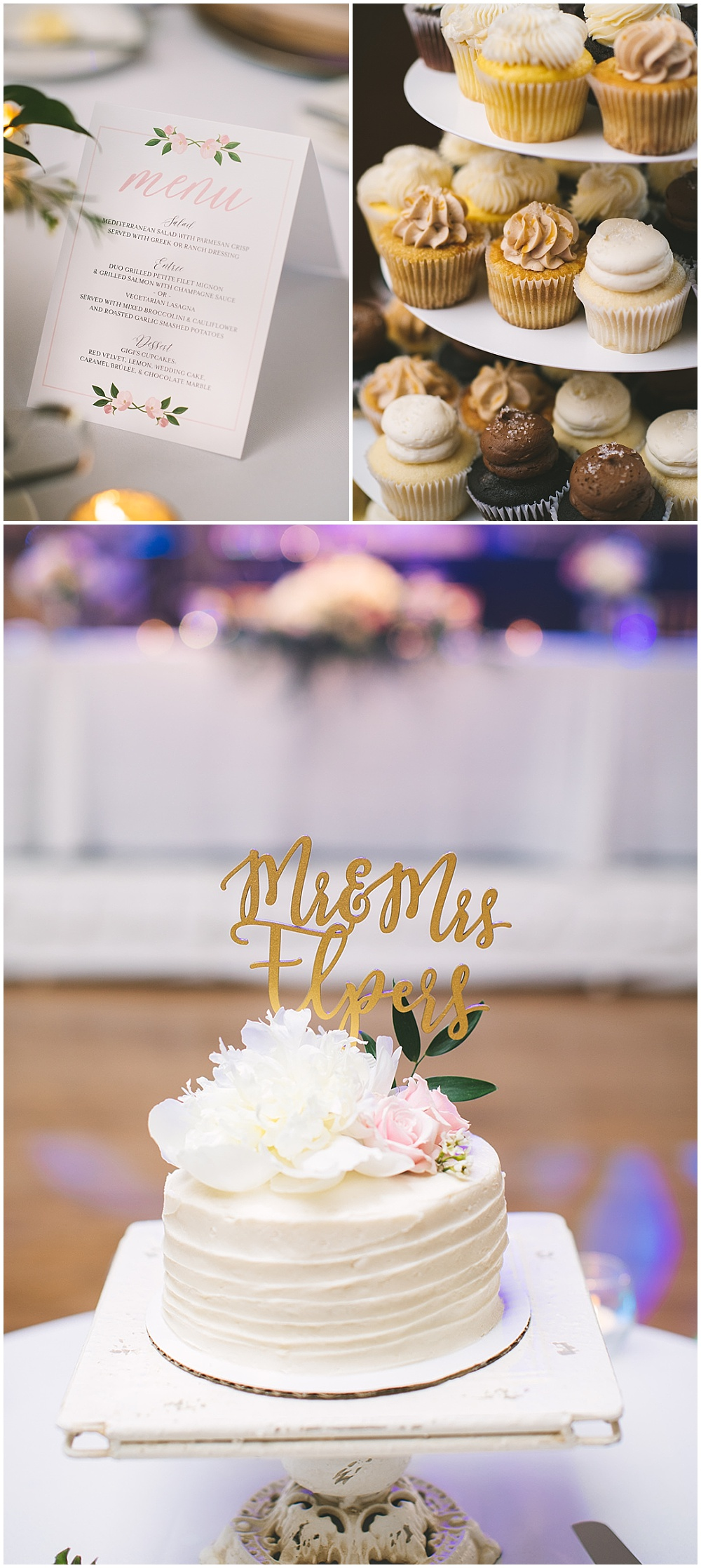 A garden-inspired Purdue University wedding | Purdue alumni wedding, shively club wedding, boilermaker wedding, blush wedding, blush wedding menu, gold cake topper