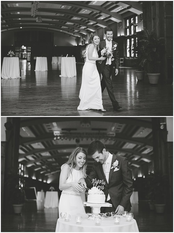 A garden-inspired Purdue University wedding | Purdue alumni wedding, shively club wedding, boilermaker wedding, blush wedding, cake cutting
