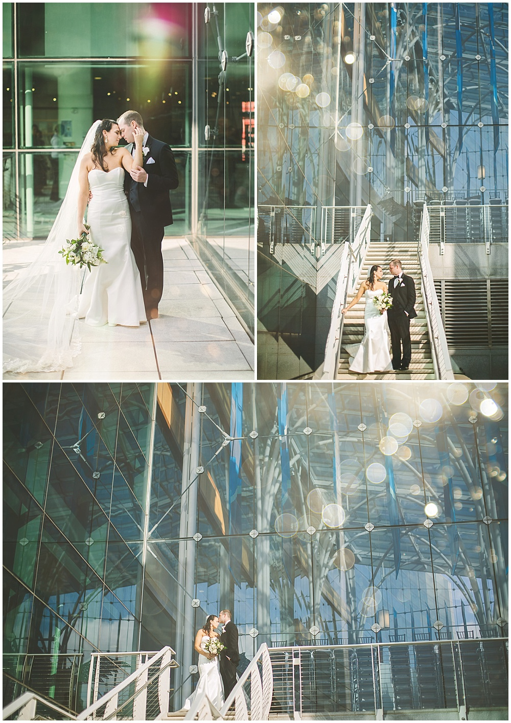 A timeless, modern wedding celebration at the Indianapolis Public Library. Bride and groom portraits in front of an all-glass structure. | Jessica Dum Wedding Coordination