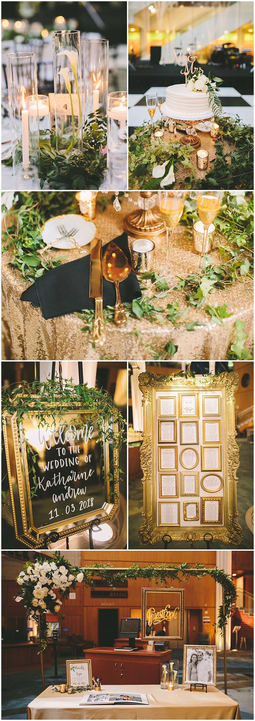 A timeless, modern wedding celebration at the Indianapolis Public Library. A black and white wedding with gold accents and a checkered dance floor. | Jessica Dum Wedding Coordination