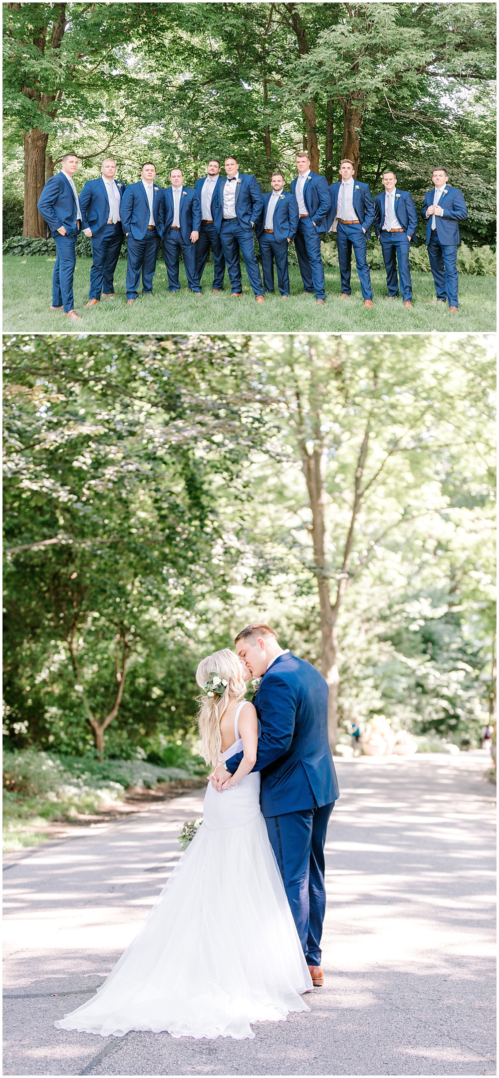 Bride and groom garden portraits; navy groomsmen suits | NFL Player Nick Martin's rustic chic summer wedding at the Biltwell Event Center