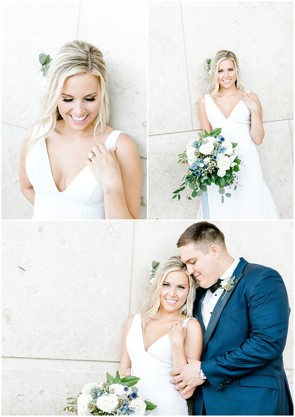 Bride and groom garden portraits; white v-neck bridal gown; navy groom's suit | NFL Player Nick Martin's rustic chic summer wedding at the Biltwell Event Center