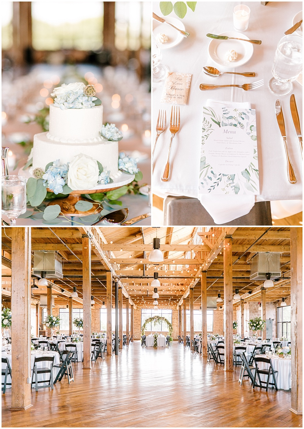 A rustic chic summer wedding with a floral and greenery Head Table arch with greenery cascading down the center. Along with a simple white cutting cake adorned with blue and white flowers and a rustic cake stand. A blue and green watercolored menu was placed at each guest setting. | NFL Player Nick Martin's rustic chic summer wedding at the Biltwell Event Center