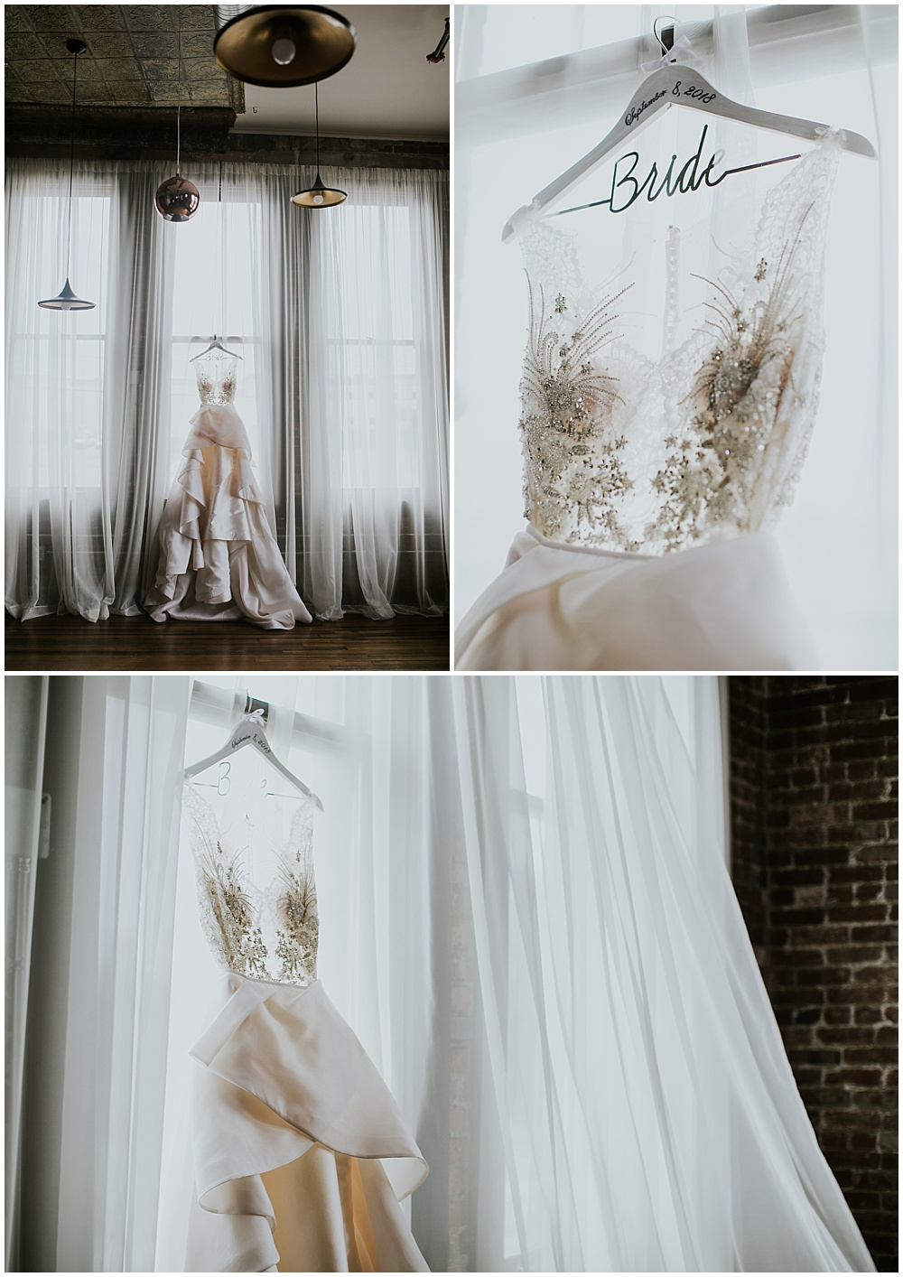 Sheer top and beaded wedding dress hanging in a window with a wooden bride hanger | Korean-American intimate multicultural wedding in Neidhammer coffee shop