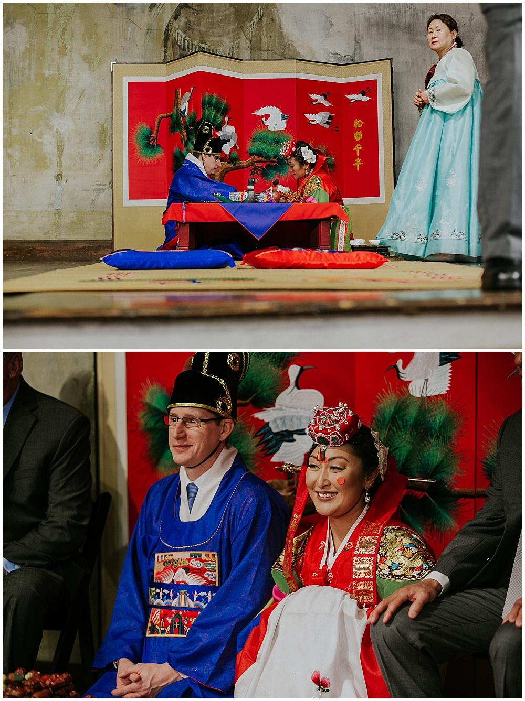 Bride and Groom in Korean cultured attire for Korean wedding ceremony | Korean-American intimate multicultural wedding in Neidhammer coffee shop