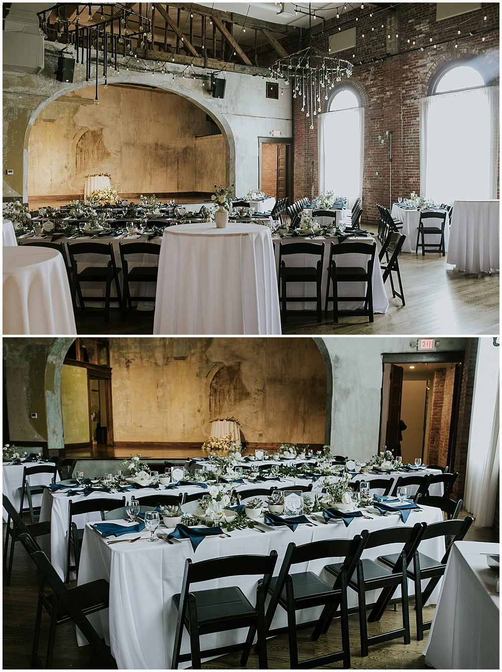 Reception space set up with white linens and navy napkins with draped lighting   Korean-American intimate multicultural wedding in Neidhammer coffee shop