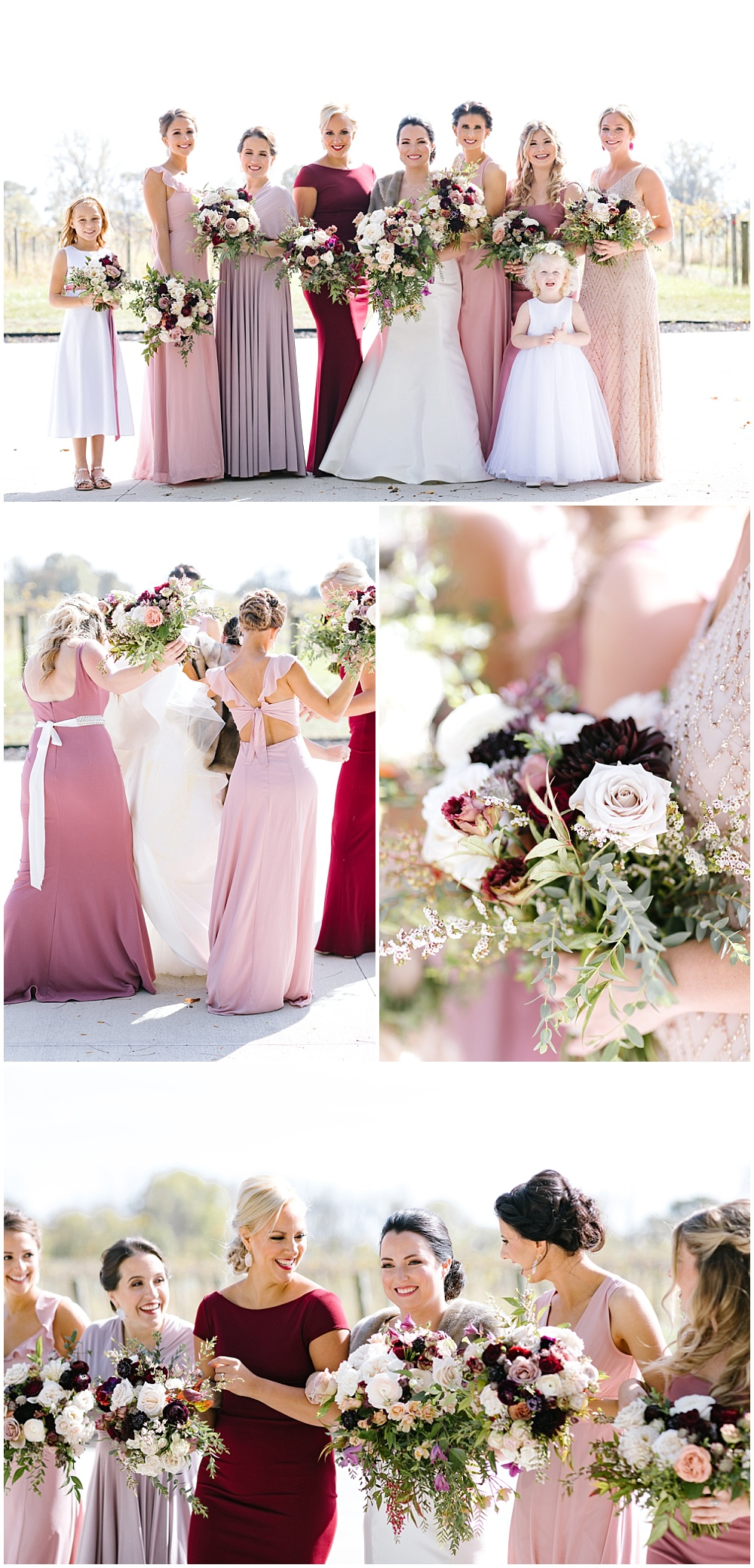 Rose quartz inspired wedding color palette with BHLDN bridesmaid dresses and a Marie Gabriel Couture bridal gown | Daniel's Vineyard wedding with Ivan & Louise + Jessica Dum Wedding Coordination