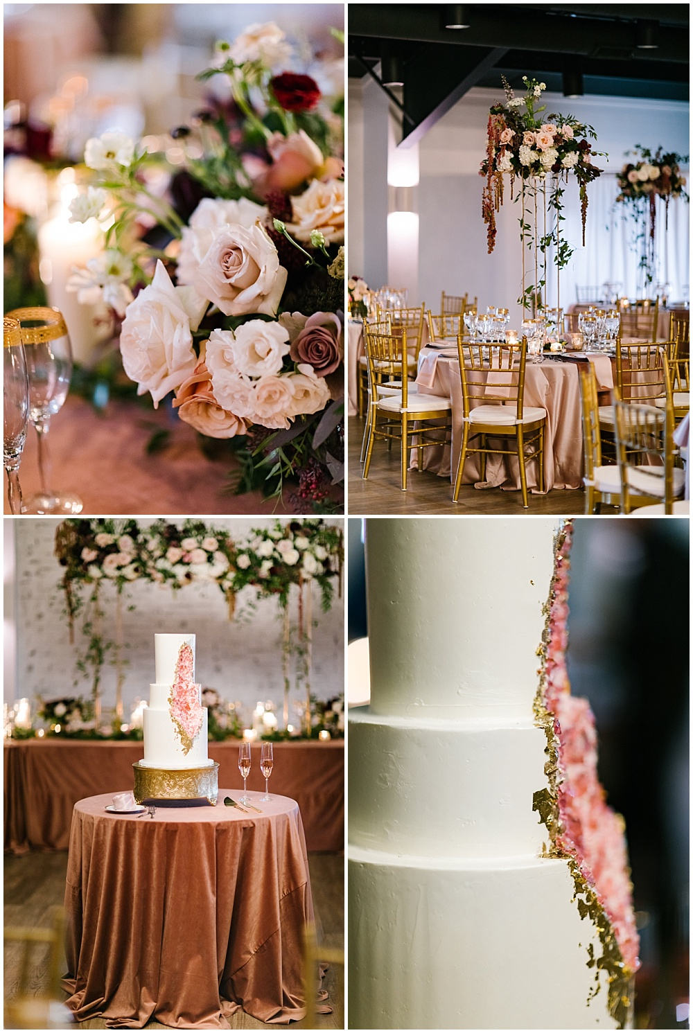Rose quartz inspired wedding with velvet rose linens, elevated flowers, draped greenery and a rose quartz inspired wedding cake | Daniel's Vineyard wedding with Ivan & Louise + Jessica Dum Wedding Coordination