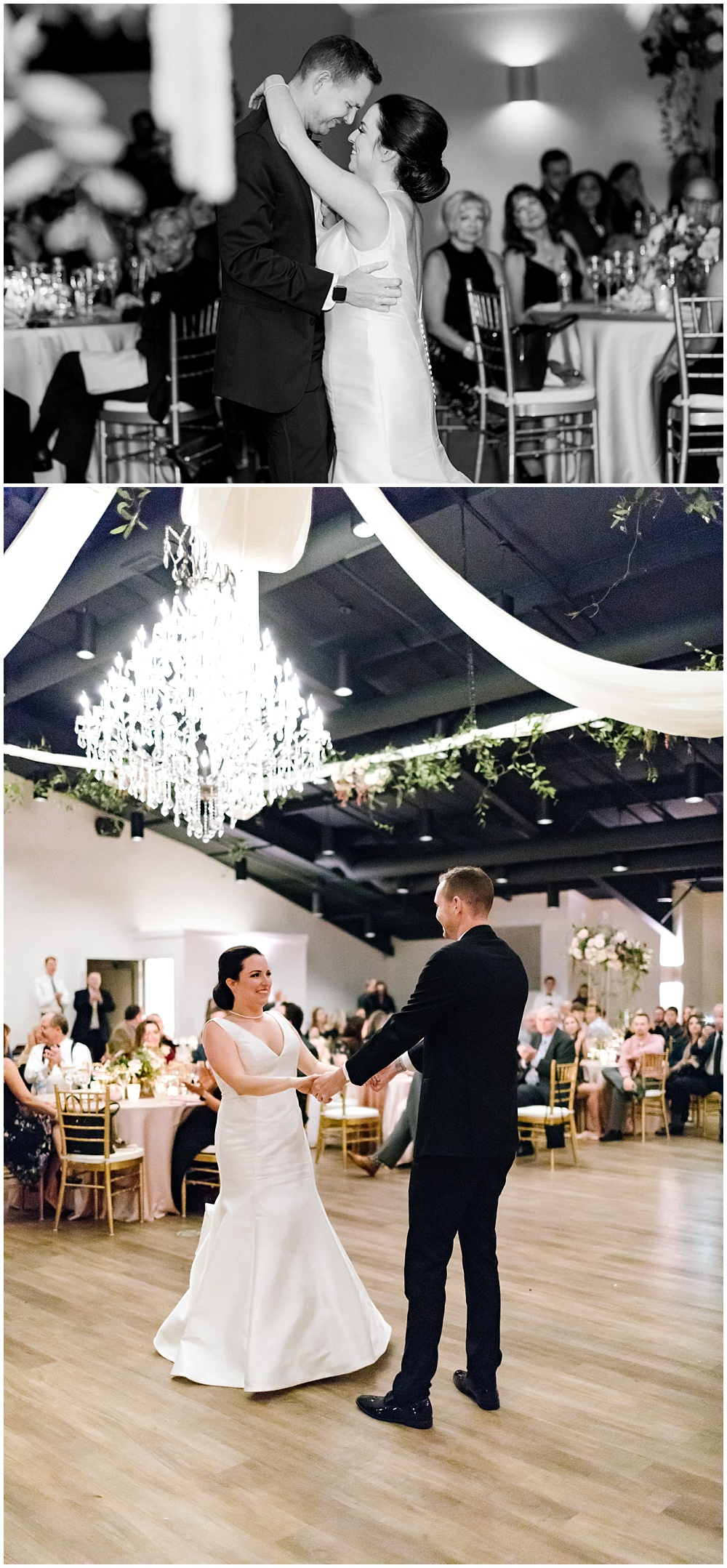 Bride and groom first dance under a crystal chandelier adorned with greenery and white draping | Daniel's Vineyard wedding with Ivan & Louise + Jessica Dum Wedding Coordination
