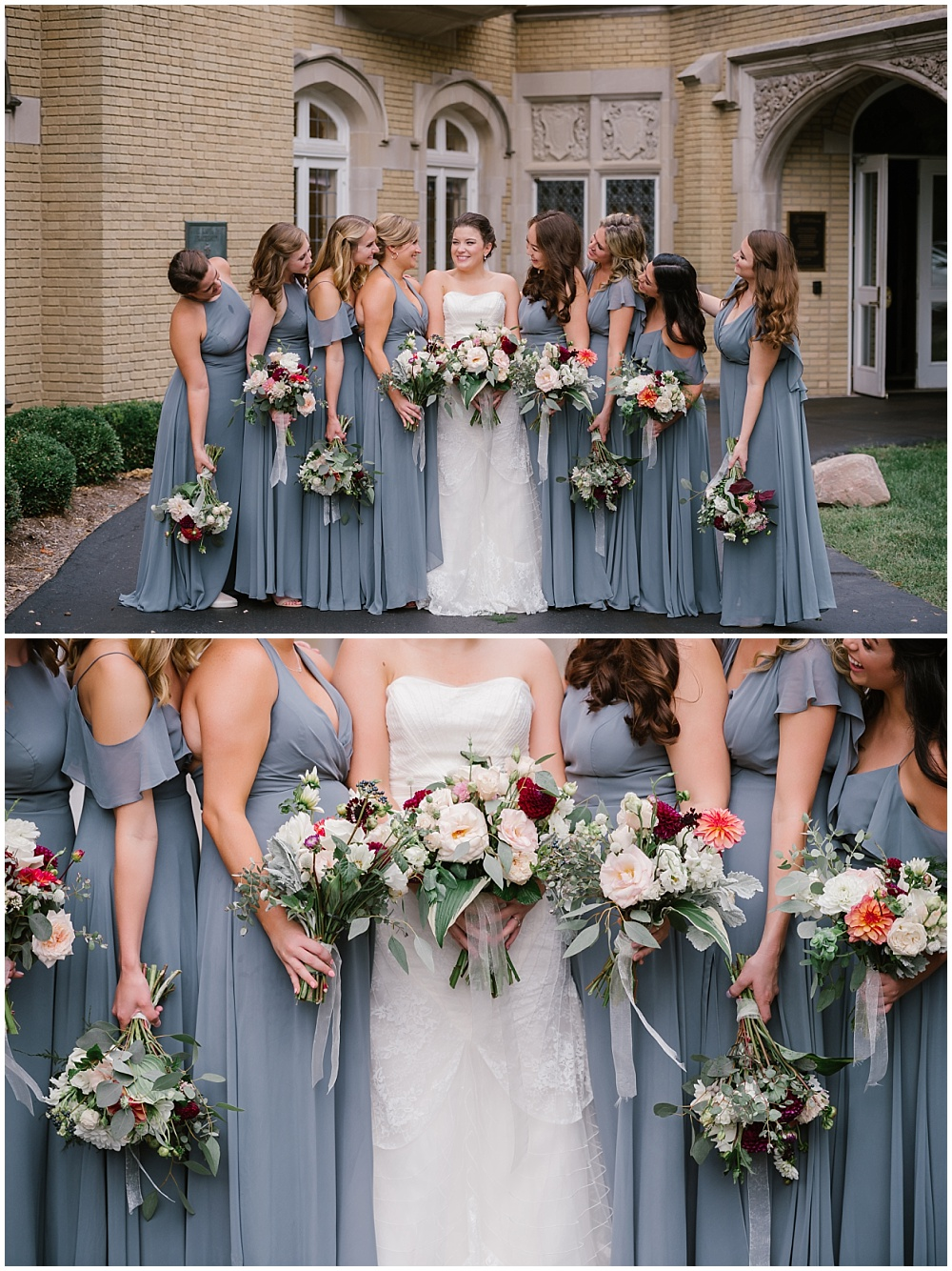 Gorgeous fall bridal bouquets with burgundy blooms accented the Jenny Yoo bridesmaid dresses beautifully! Fall Indianapolis wedding at Laural Hall with a gorgeous fall wedding color palette and burgundy blooms. | Jessica Dum Wedding Coordination