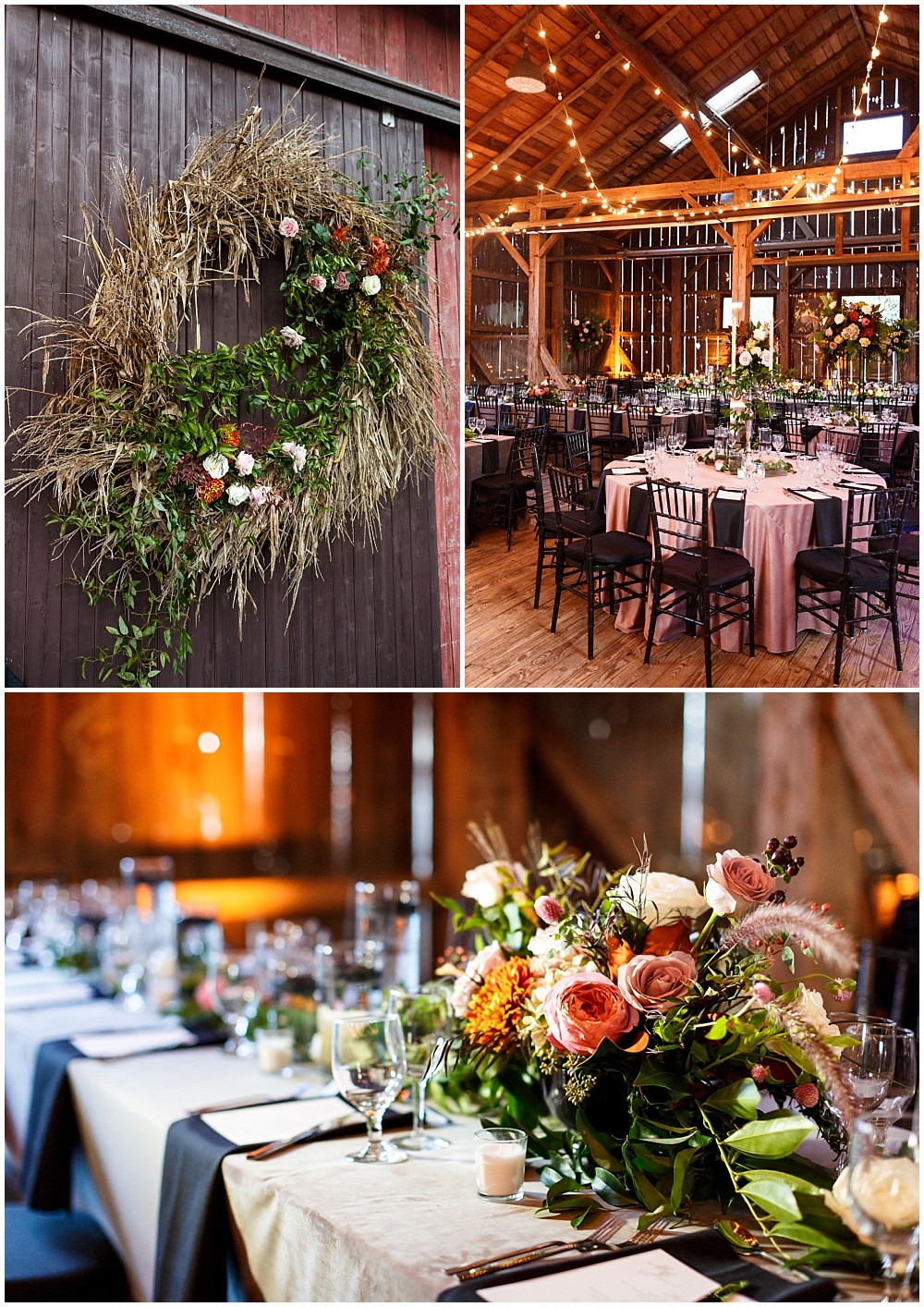 Rustic wedding tablescape with lush fall blooms and gold accents | Fall Indianapolis Traders Point Creamery garden wedding - fall, rustic details with an abundance of wedding blooms, velvet linens and fun details with Bobbi Photo and Jessica Dum Wedding Coordination