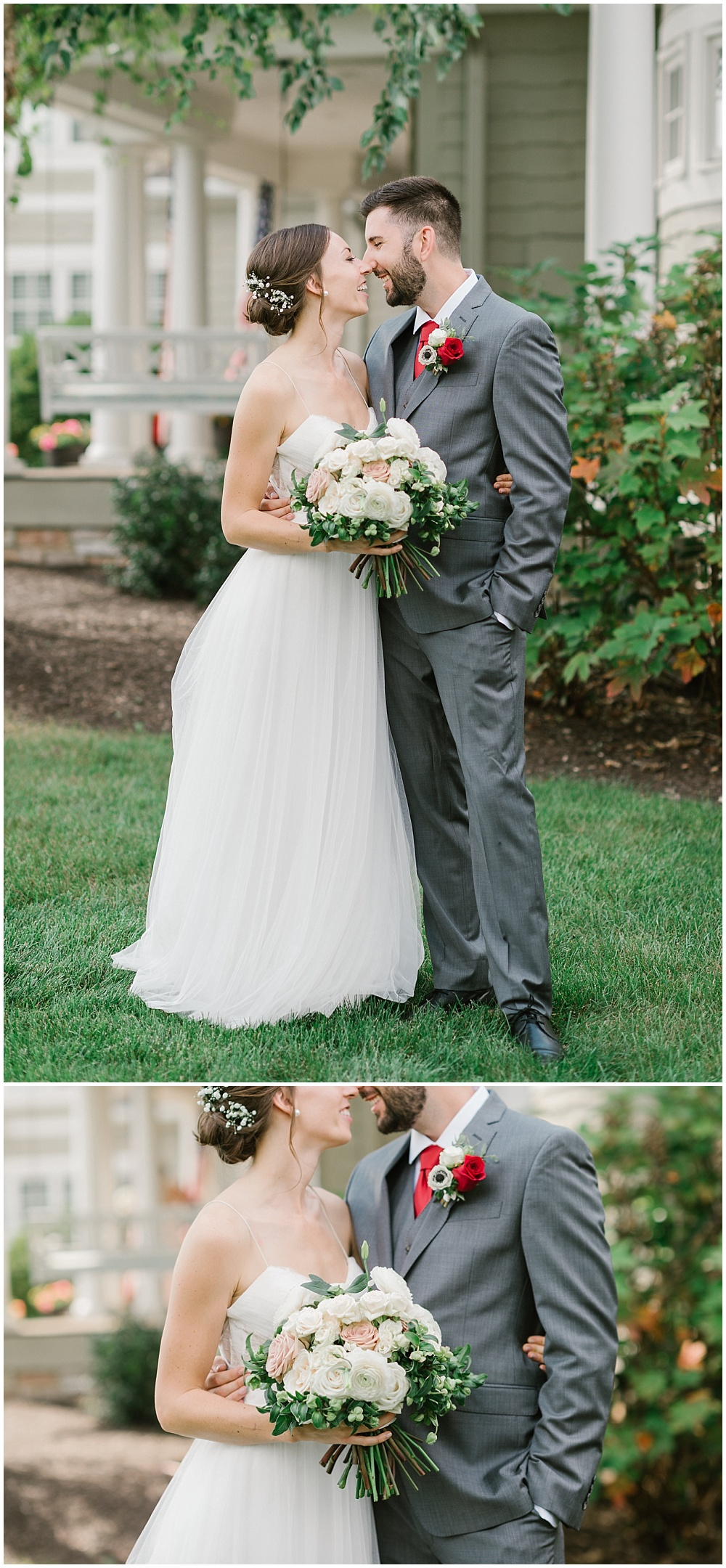 Bride and groom first look Fall garden-inspired wedding at the Ritz Charles Garden Pavilion in Carmel, Indiana | Jessica Dum Wedding Coordination