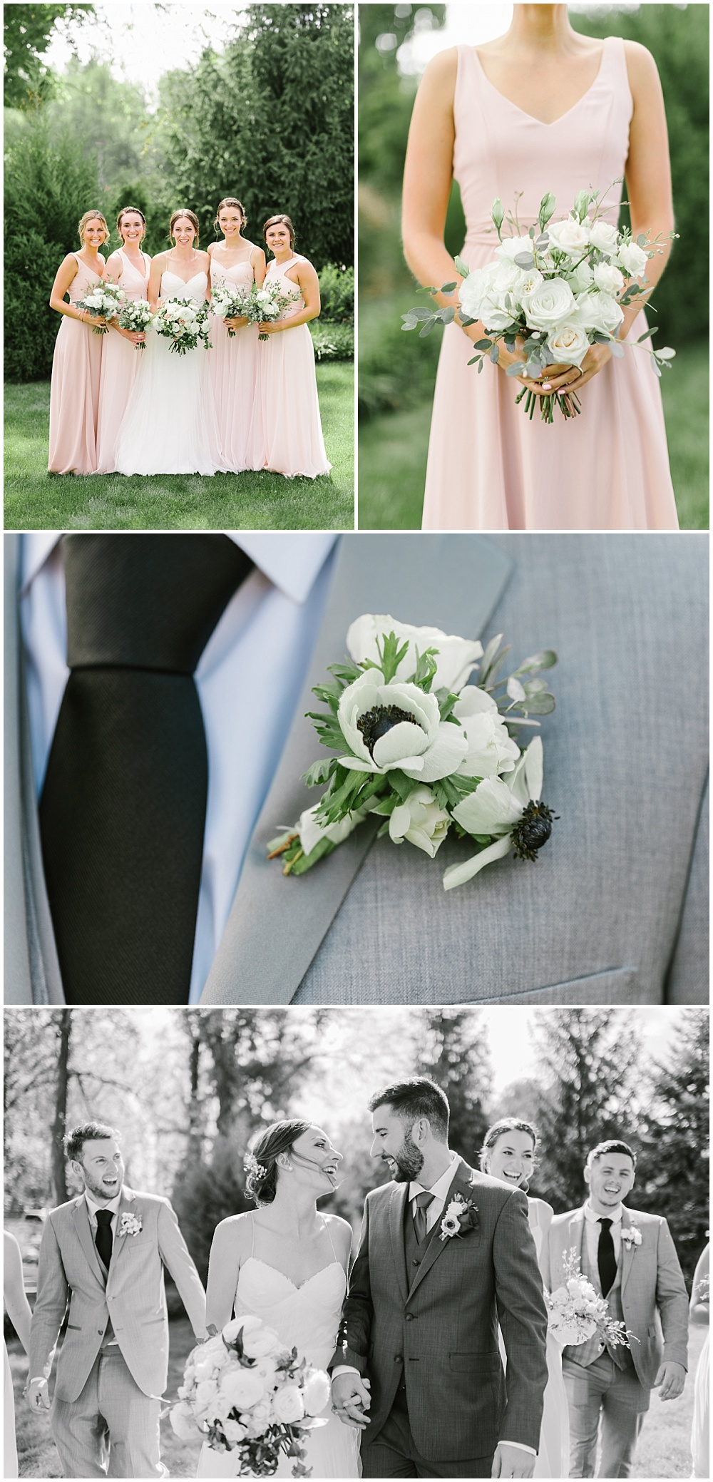 Blush bridesmaid dressed with white and green bouquets and anenome boutonnieres against gray groomsmen suits Fall garden-inspired wedding at the Ritz Charles Garden Pavilion in Carmel, Indiana | Jessica Dum Wedding Coordination