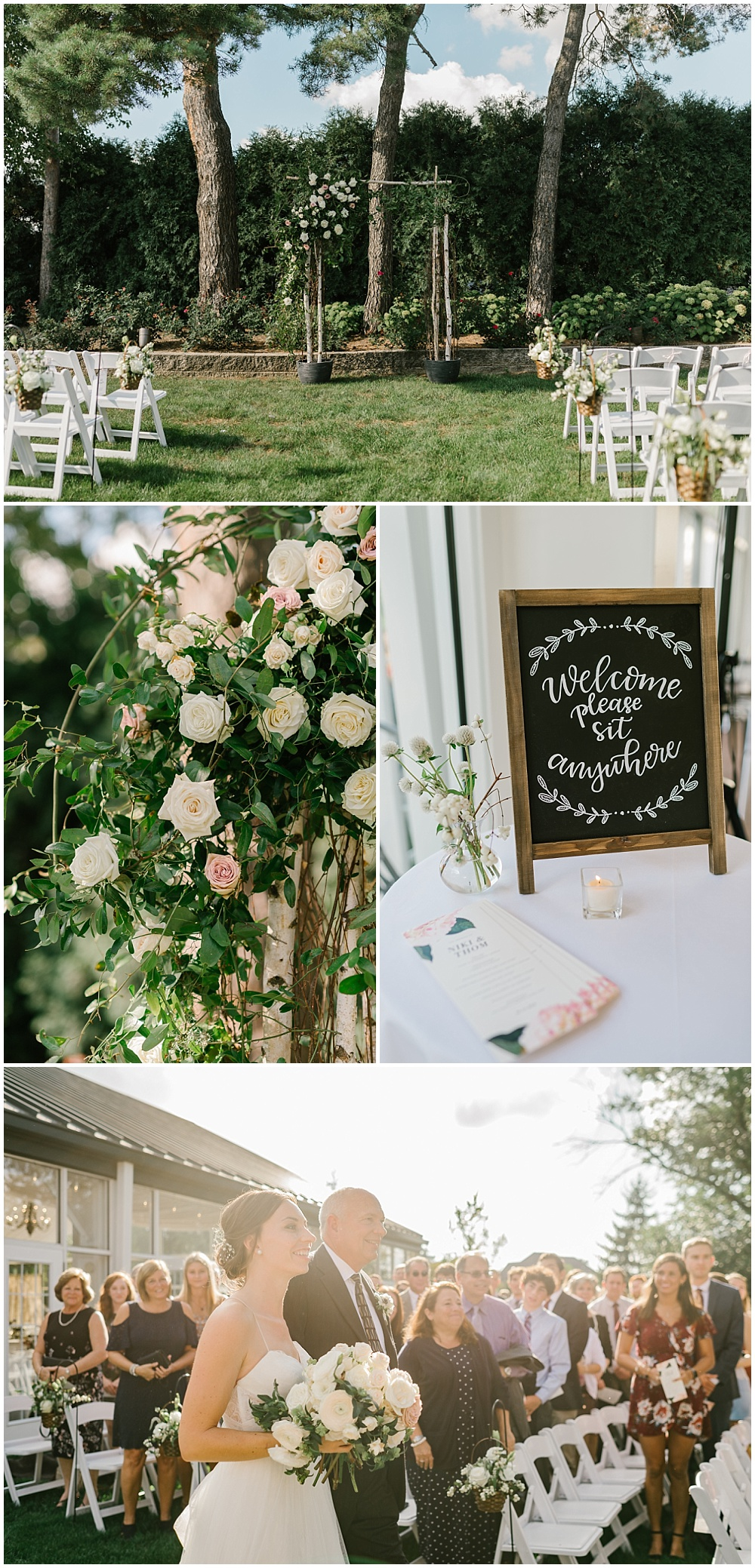 Outdoor garden ceremony backdrop with florals Fall garden-inspired wedding at the Ritz Charles Garden Pavilion in Carmel, Indiana   Jessica Dum Wedding Coordination