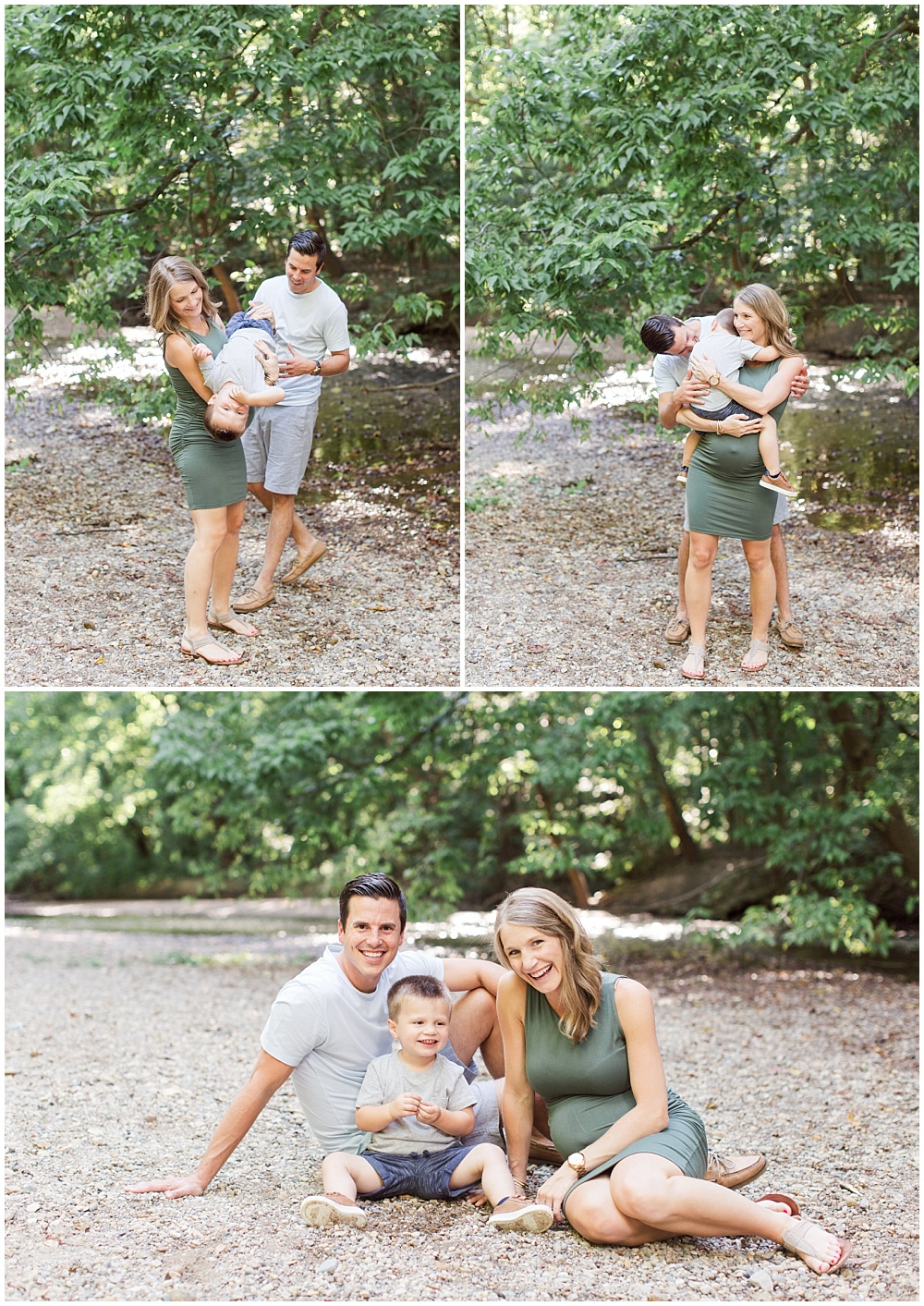 Fall maternity photo session at Flowing Well Creek with Sami Renee Photography. Muted army green, navy and white fall family outfit inspiration with outdoor natural light photography.