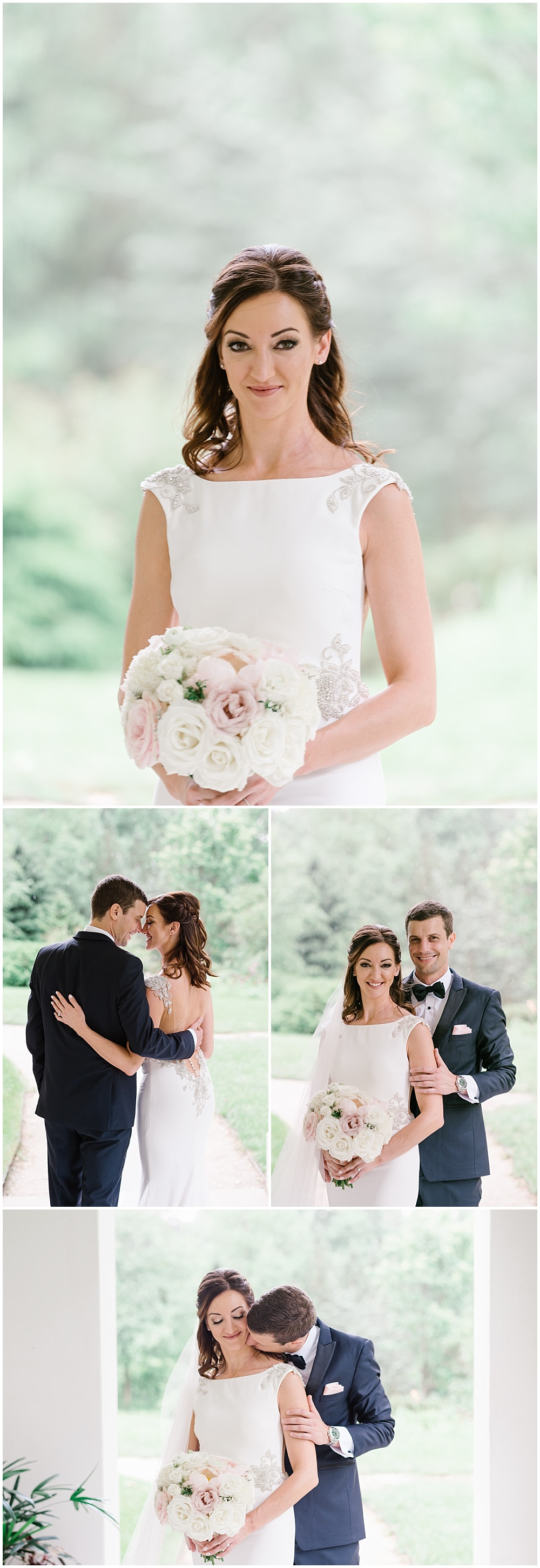 Bride and groom outdoor portraits on the grounds of the beautiful Indianapolis Museum of Art Newfields. | Spring blush garden-inspired memorial day weekend wedding at the beautiful Ritz Charles Garden Pavilion with Stacy Able Photography and Jessica Dum Wedding Coordination