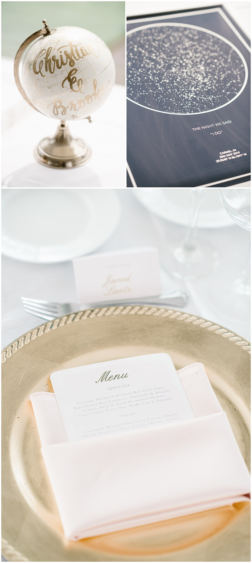 Constellation guestbook map for guests to sign and blush and gold wedding tablescape details. | Spring blush garden-inspired memorial day weekend wedding at the beautiful Ritz Charles Garden Pavilion with Stacy Able Photography and Jessica Dum Wedding Coordination