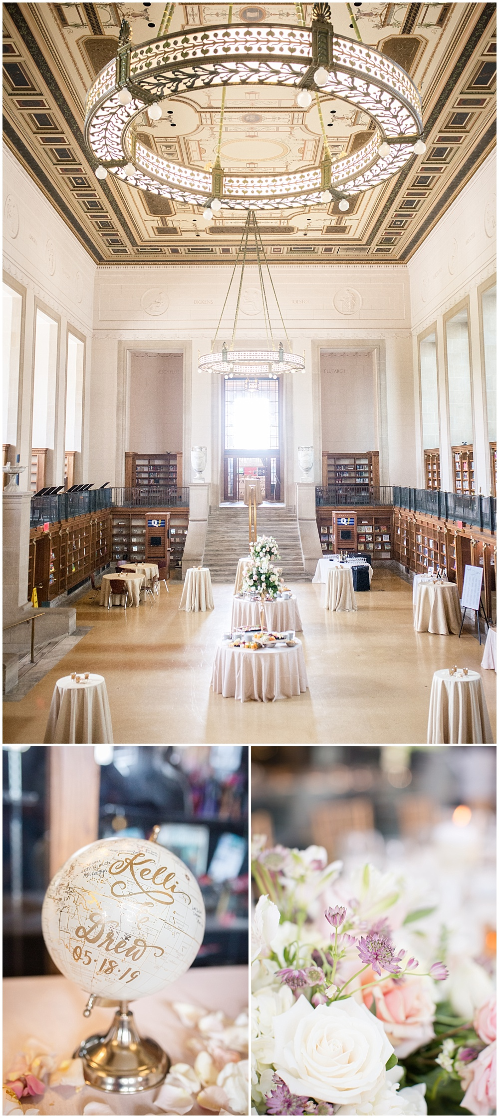 Central Library's Simon Reading Room cocktail hour and blush accents.   Spring blush and gold downtown Indianapolis Central Library wedding alongside Evangeline Renee Photography + Jessica Dum Wedding Coordination