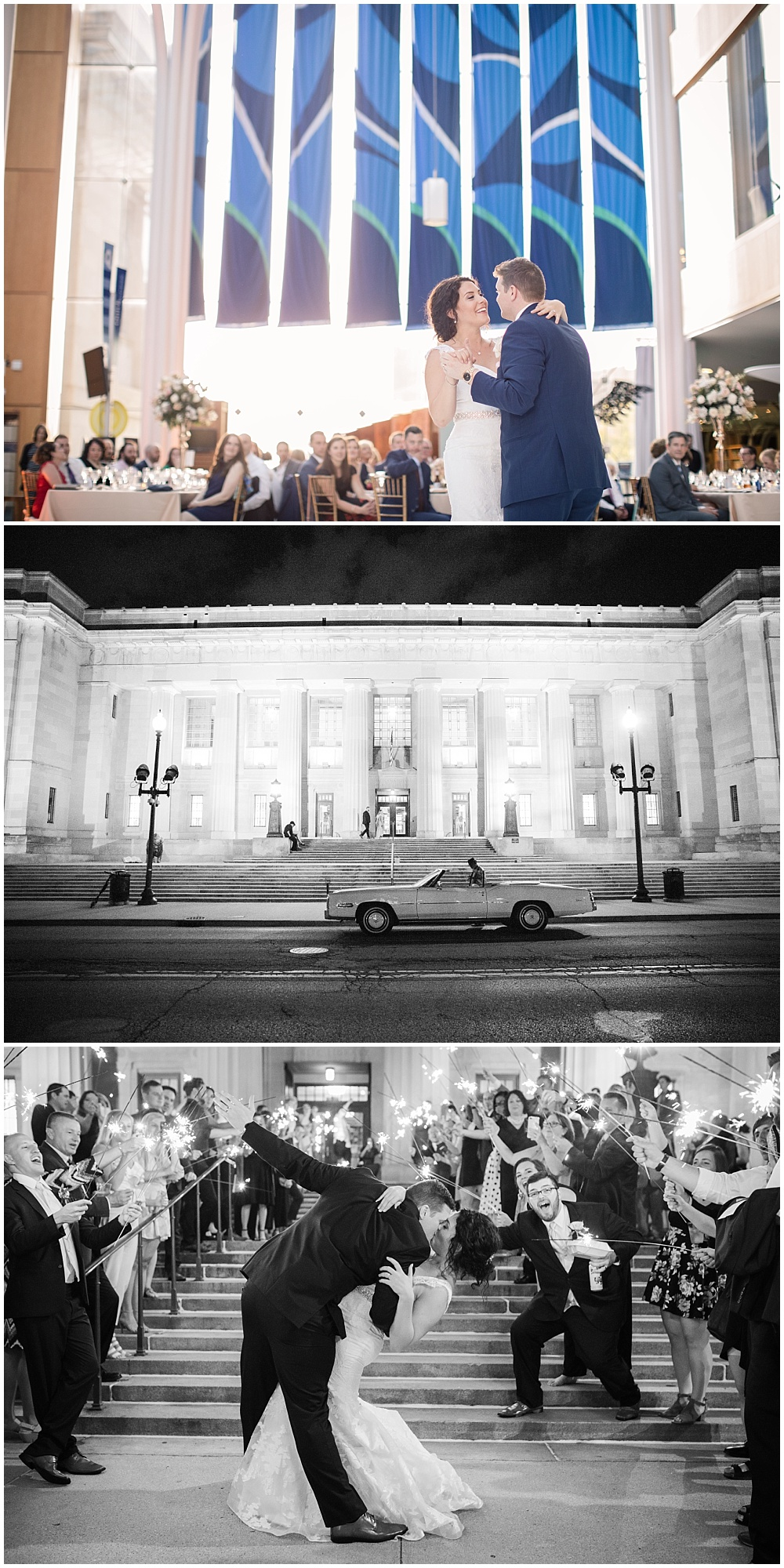 Bride and groom first dance, and formal sparkler exit down the central library stairs.   Spring blush and gold downtown Indianapolis Central Library wedding alongside Evangeline Renee Photography + Jessica Dum Wedding Coordination