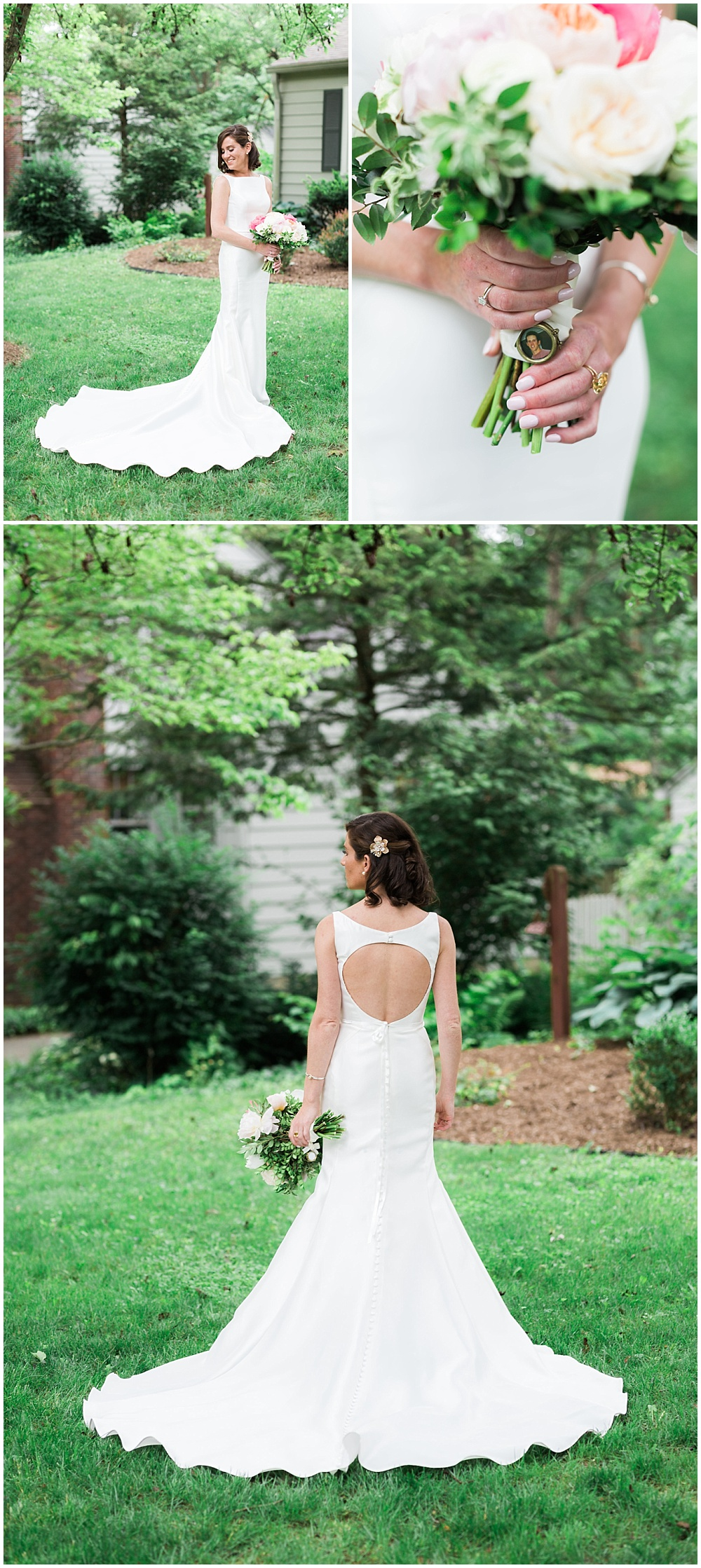 Bridal portraits with key-hole white wedding dress and a cape-cod inspired bridal bouquet. | Coral and navy Cape Cod-inspired downtown Indianapolis library wedding with Gaby Cheikh Photography and Jessica Dum Wedding Coordination