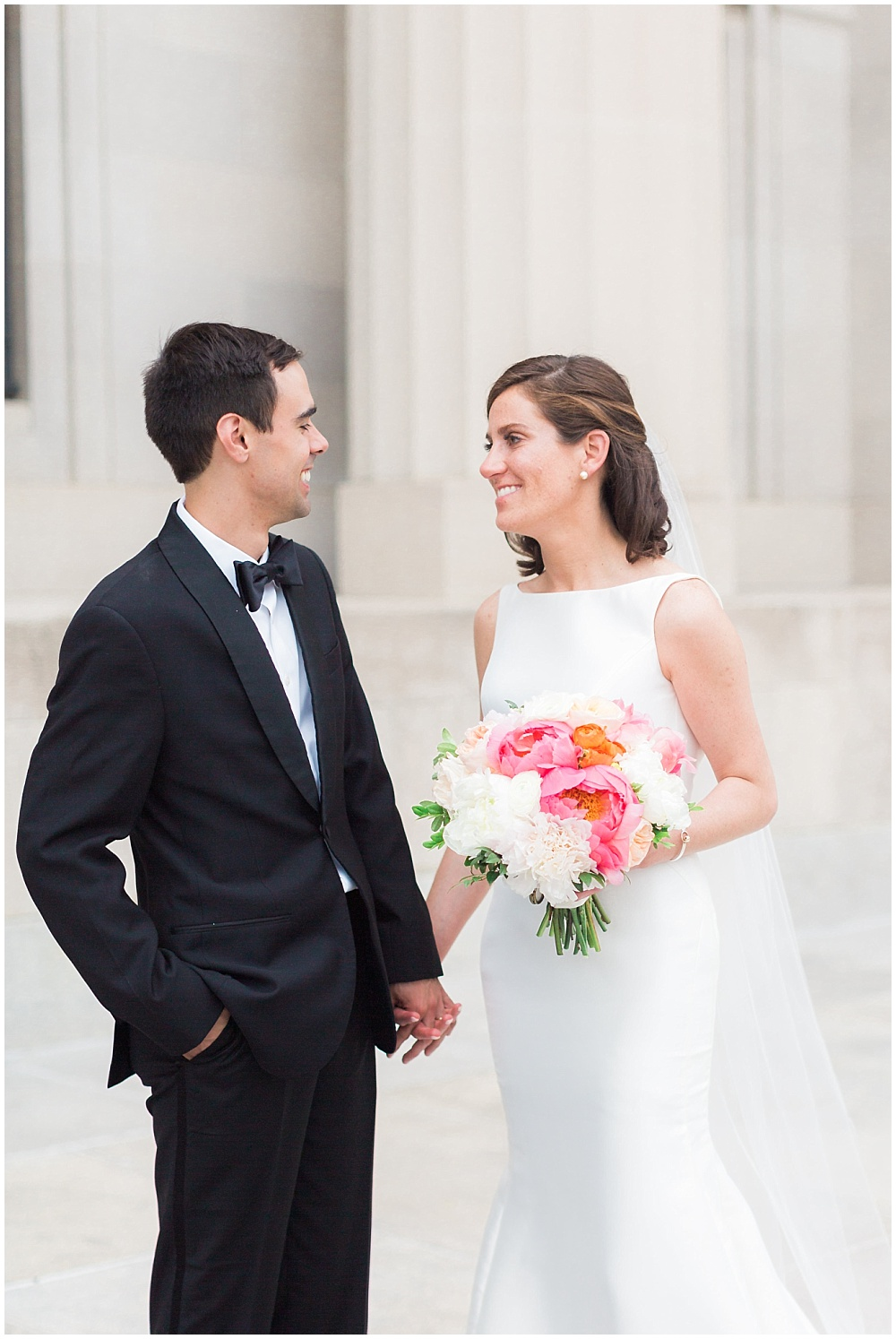 Bridal and groom portraits with a cape-cod inspired bridal bouquet. | Coral and navy Cape Cod-inspired downtown Indianapolis library wedding with Gaby Cheikh Photography and Jessica Dum Wedding Coordination