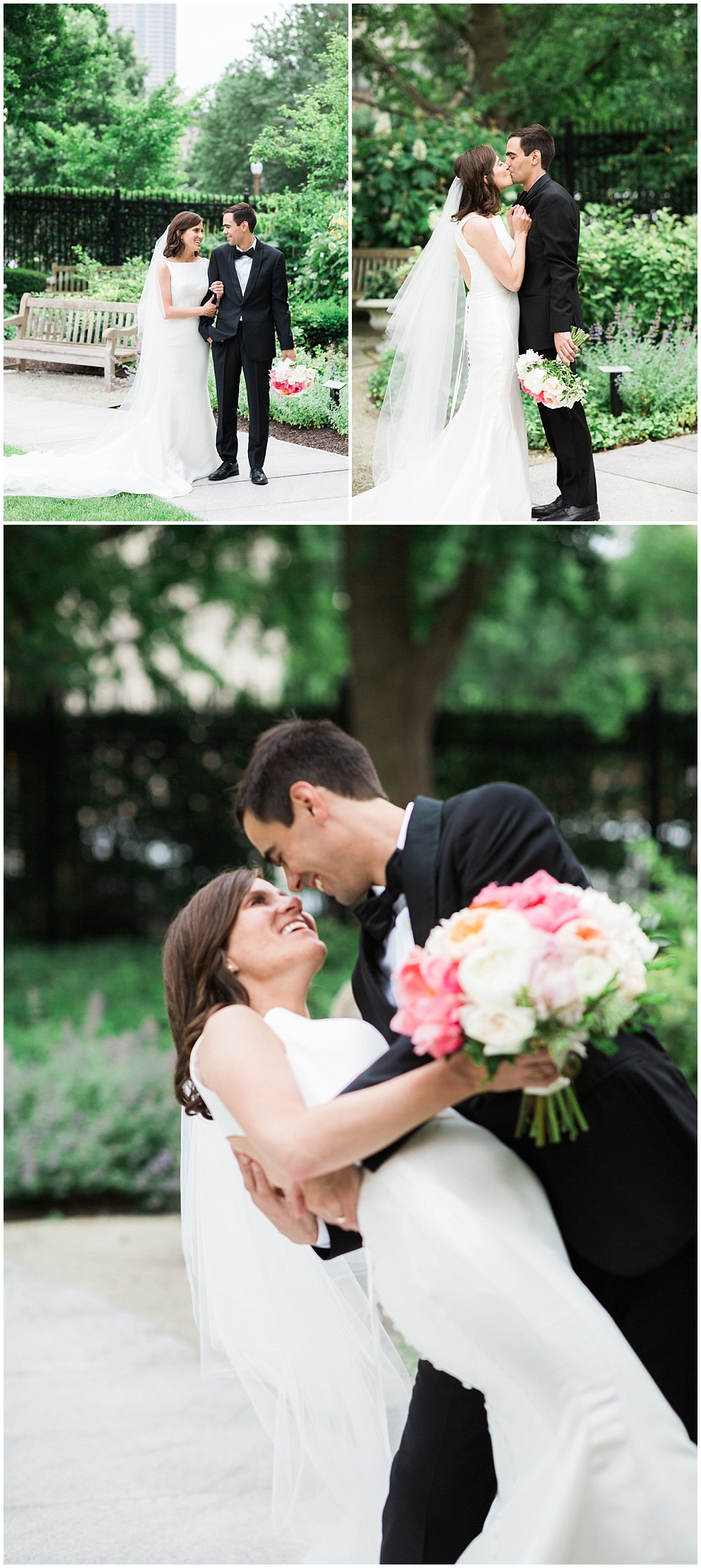 Bride and groom garden portraits. | Coral and navy Cape Cod-inspired downtown Indianapolis library wedding with Gaby Cheikh Photography and Jessica Dum Wedding Coordination