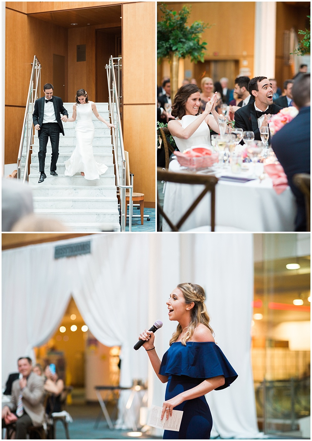 Bride and groom introductions. | Coral and navy Cape Cod-inspired downtown Indianapolis library wedding with Gaby Cheikh Photography and Jessica Dum Wedding Coordination