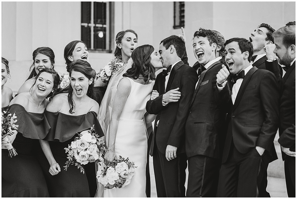 Bridal party photos. | Coral and navy Cape Cod-inspired downtown Indianapolis library wedding with Gaby Cheikh Photography and Jessica Dum Wedding Coordination