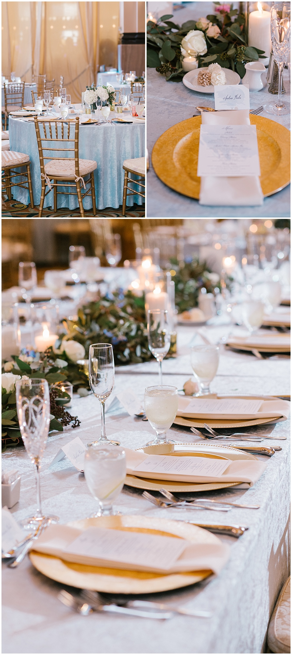 Custom blue velvet linens were created specifically for Scott + Andrea's wedding tablescapes adorned with gold accents and draped greenery down the lengths of the tables | A blue and gold downtown Indianapolis spring wedding at the Grand Hall at Historic Union Station with Rebecca Shehorn Photography and Jessica Dum Wedding Coordination is on the blog today!